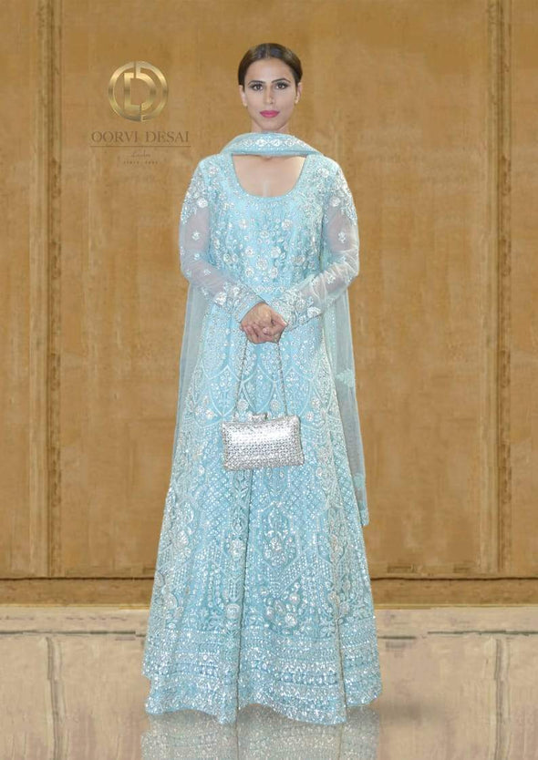 Pastel Blue Diamante Anarkali Set with Dupatta