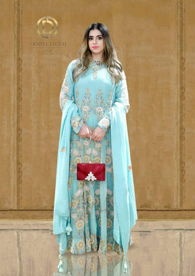 Pastel Blue Anarkali Set with Intricate Threadwork and Dupatta