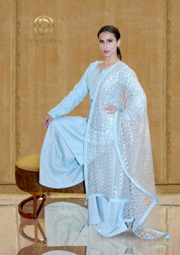 Pastel Blue Palazzo set with Heavy Dupatta by Oorvi Desai
