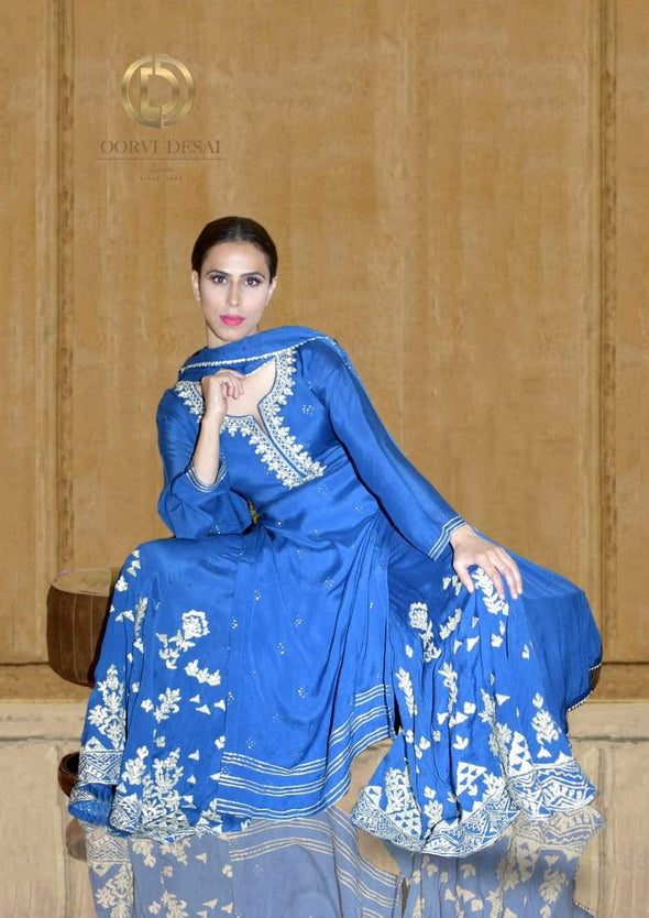 Dark Blue Silver Embroidered Long Palazzo Set by Oorvi Desai
