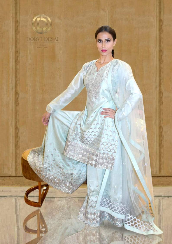 Pastel Pista Green Palazzo set with Shimmer Scallop Embroidery by Oorvi Desai