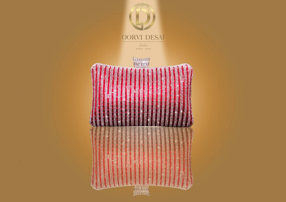 Diamante Striped Clutch with Diamond Studded Clasp by Oorvi Desai (OD - B 45 Gold/ Siver/ Blue/ Red)