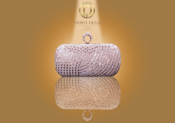 'Lined Diamante Lustrous Clutch with Diamond Studded Clasp by Oorvi Desai' (OD - B 44 Black/ Silver)