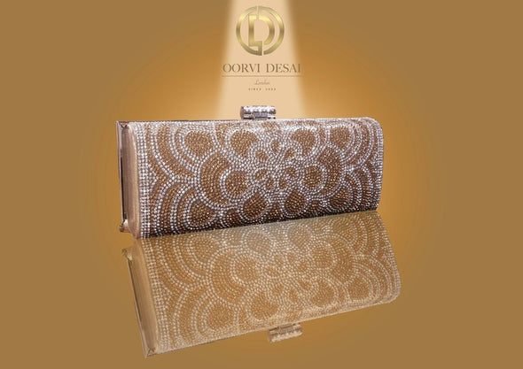 'Golden Floral Stone Studded Elongated Clutch' by Oorvi Desai (OD - B 42 Gold/ Black)