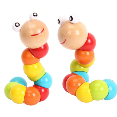 Colorful Wooden Worm Puzzles Kids Learning Development