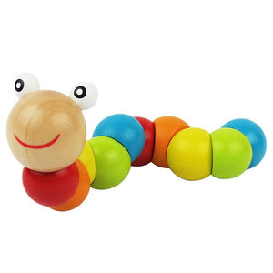 Colorful Wooden Worm Puzzles Learning  Kids Development