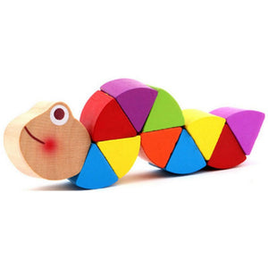 Colorful Wooden Worm Puzzles Kids Learning  Didactic Montessori