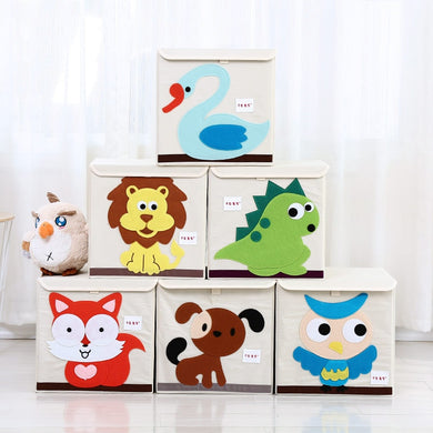 e Oxford Cloth Animal Embroider Folding Storage box kid Toys organizer