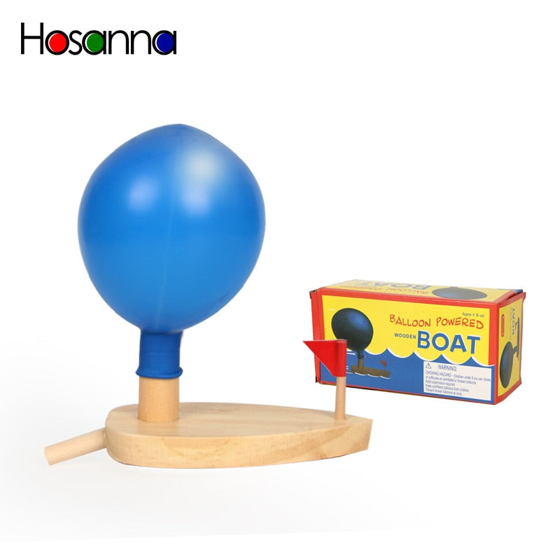 Bath  Wooden Balloon Powered Boat Science Learning Development