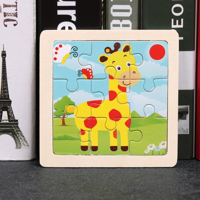 17 Styles Animals Wooden Puzzle  Development Learning Puzzle