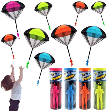 Hand playing mini soldier parachute funny toy