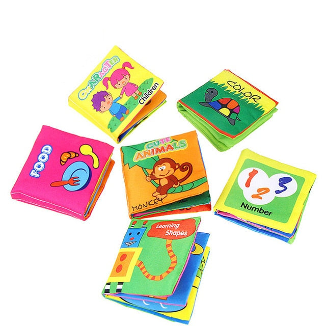 6pcs/set Baby Soft Cloth Developing Quiet Intellignce Books
