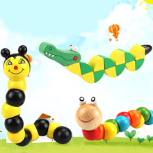 Load image into Gallery viewer, Colorful Wooden Worm Puzzles  Didactic Development Montessori