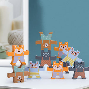 12Pcs/Set Bear Shape Wooden Building Stacking Balance