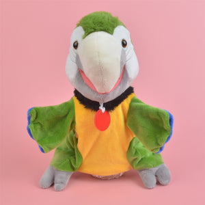 Green Parrot hand puppet Learning plush Stuffed  Develop