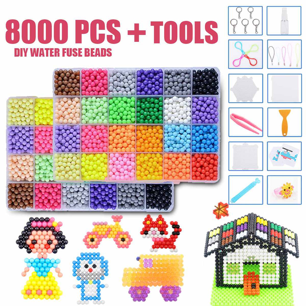 8000pcs DIY Water Sticky  Beads Plastic for Children