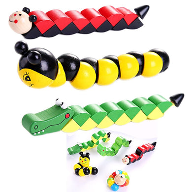 Colorful Wooden Worm Puzzles Kids Learning  Didactic Development