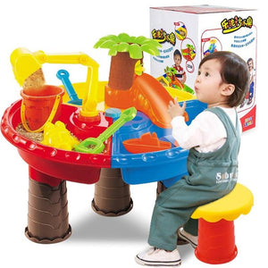 Kids Sand Bucket Water Wheel Table Outdoor Beach