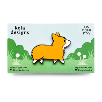 Kela Designs: Charles The Corgi Lapel Enamel Pin