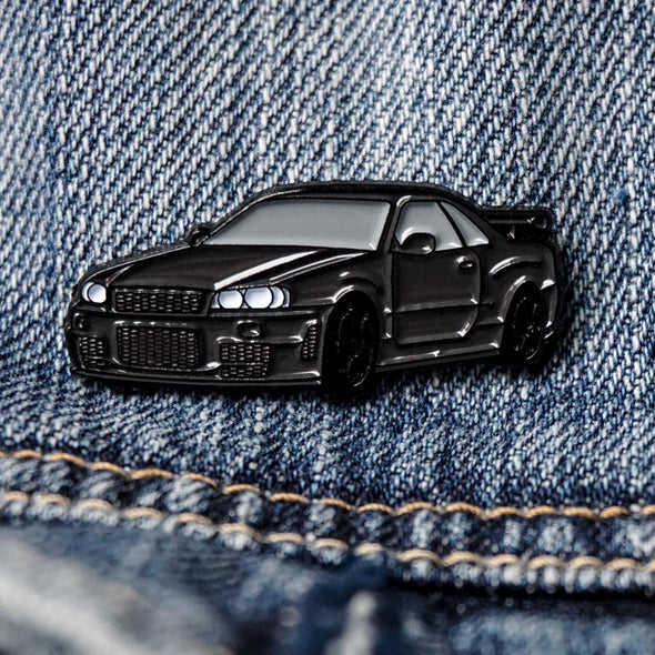 Nissan Skyline GT-R R34 (Gunmetal Grey) Car Lapel Enamel Pin
