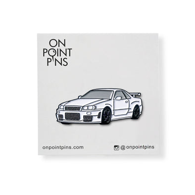 Nissan Skyline GT-R R34 (White) Car Lapel Enamel Pin