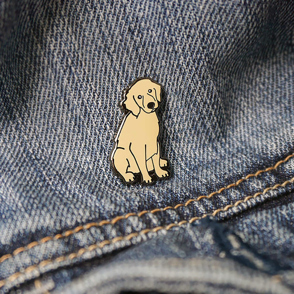 "Golden Retriever Puppy ""Bad Dog"" Lapel Enamel Pin"