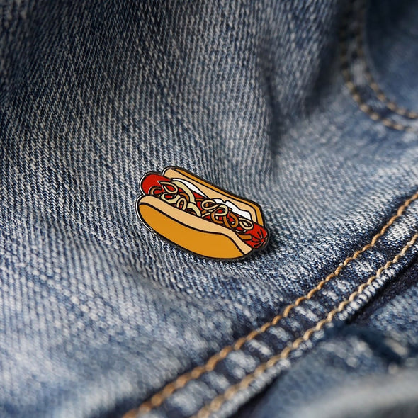 Seattle: Cream Cheese Style Hot Dog Lapel Enamel Pin