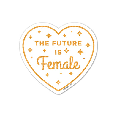 The Future is Female White (Glitter) Die Cut Vinyl Sticker