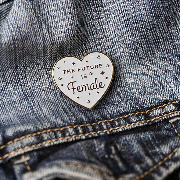 The Future is Female White Feminist (Glow in the Dark) Lapel Enamel Pin