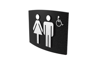 Cast Aluminum, Curved Face, Women & Men's Barrier Free Washroom Sign
