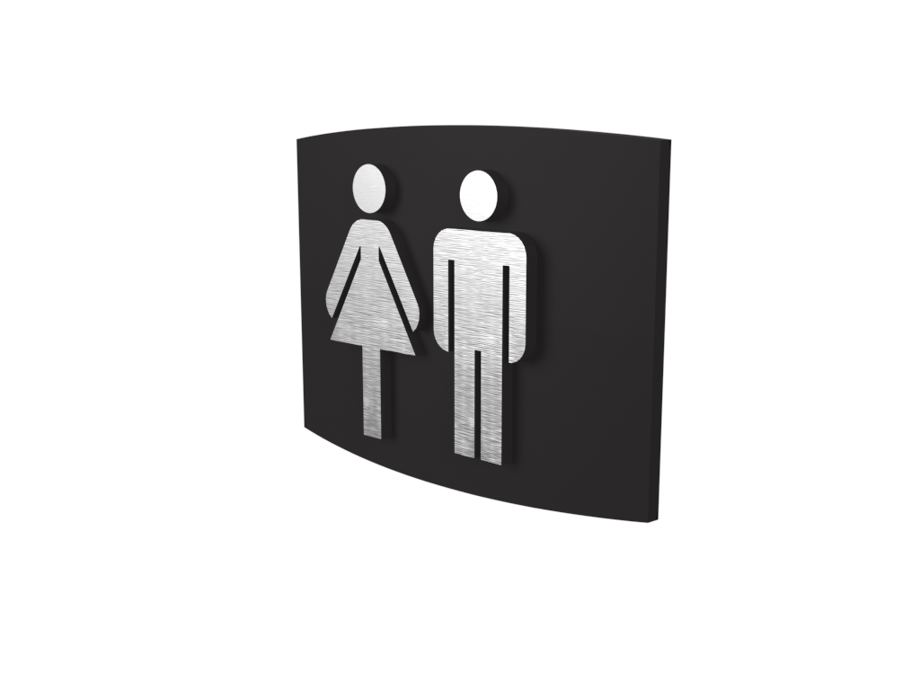 Cast Aluminum, Curved Face, Women & Men's Washroom Sign