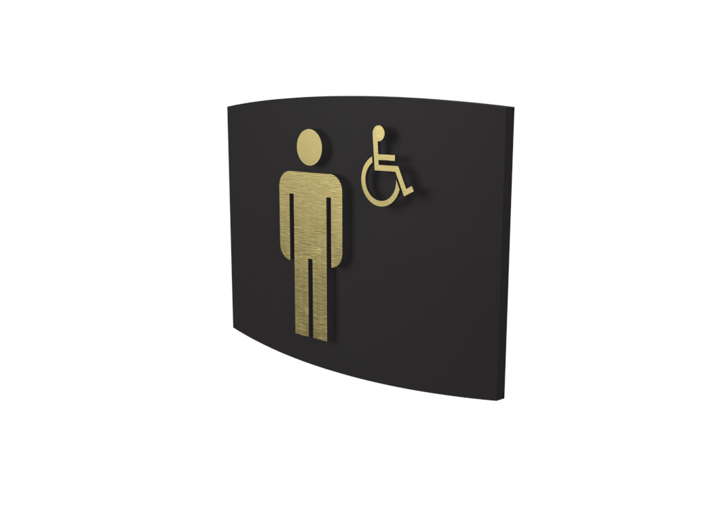 Cast Bronze, Curved Face, Men's Barrier Free Washroom Sign