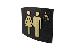 Cast Bronze, Curved Face, Women & Men's Barrier Free Washroom Sign