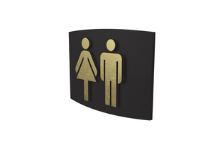 Cast Bronze, Curved Face, Women & Men's Washroom Sign