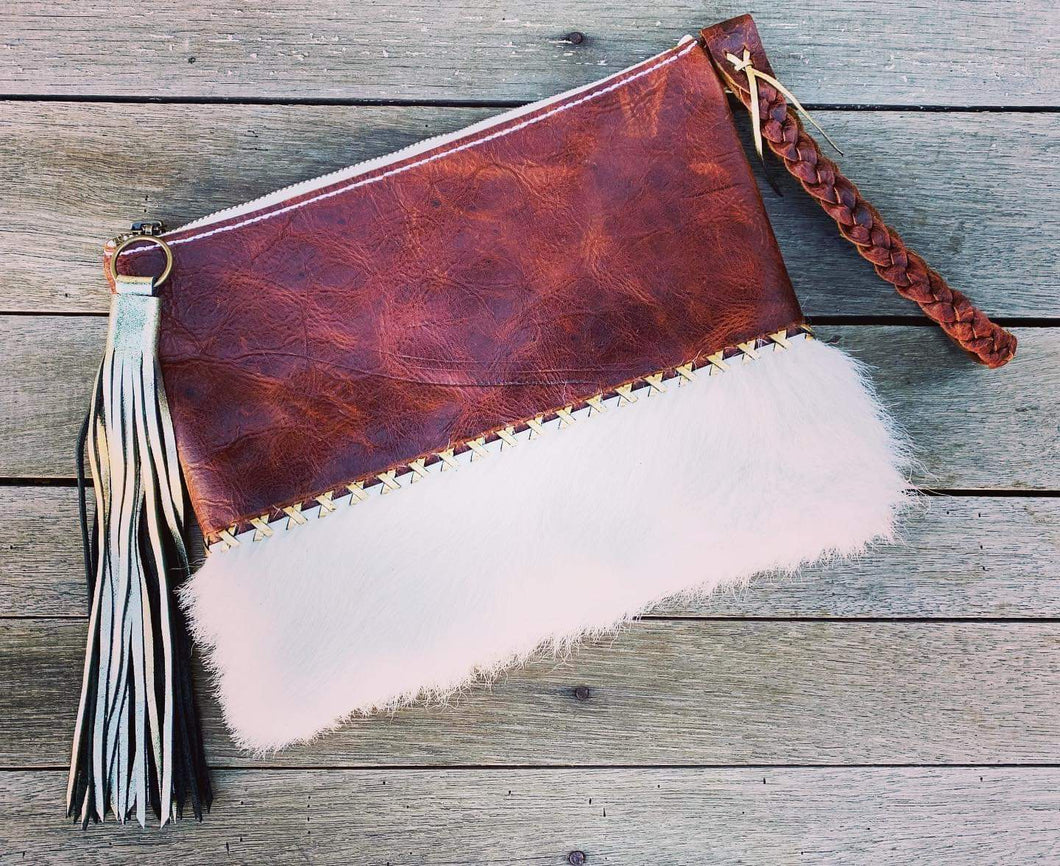 Fluffy Leather Clutch