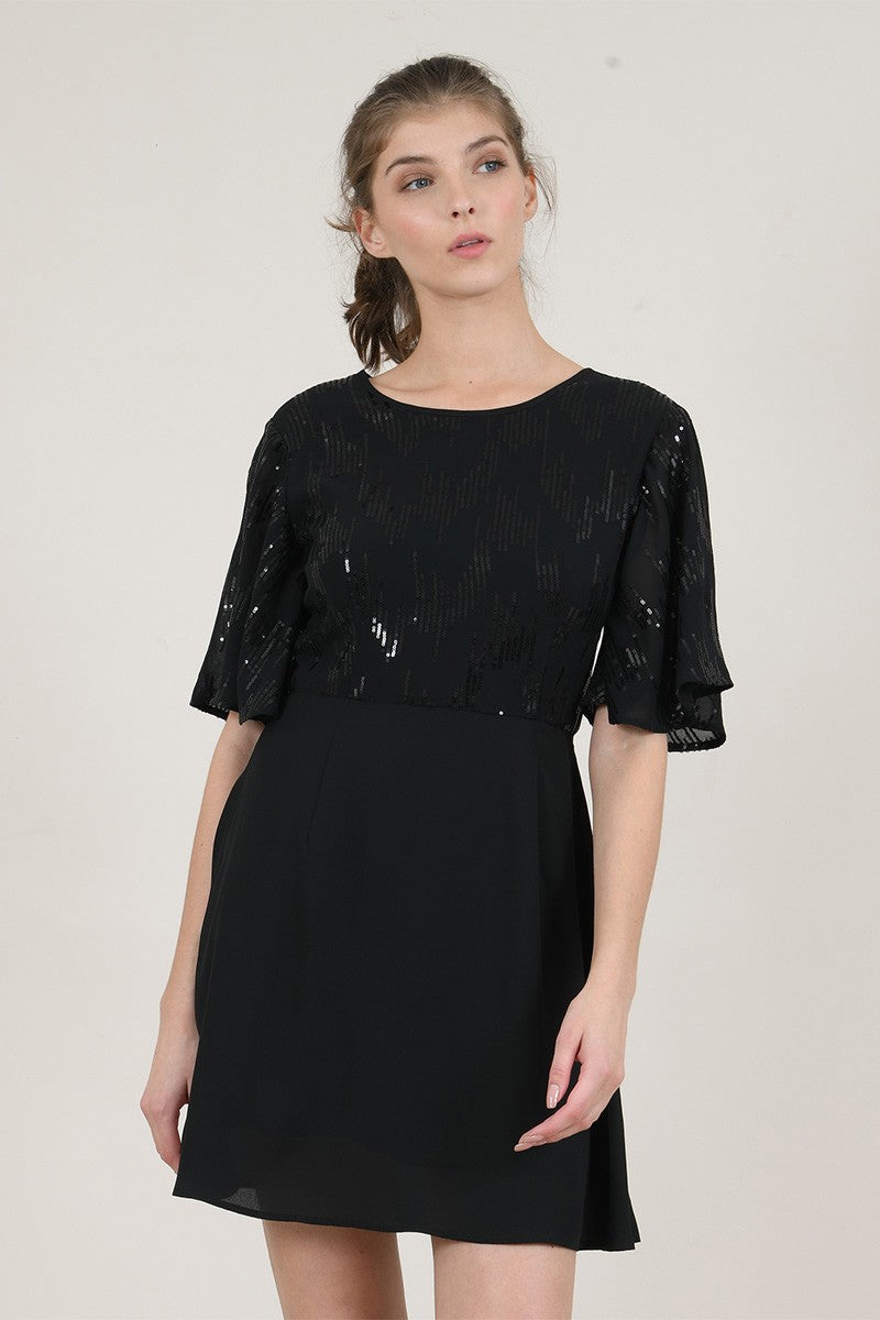 Sequin Yoke Dress