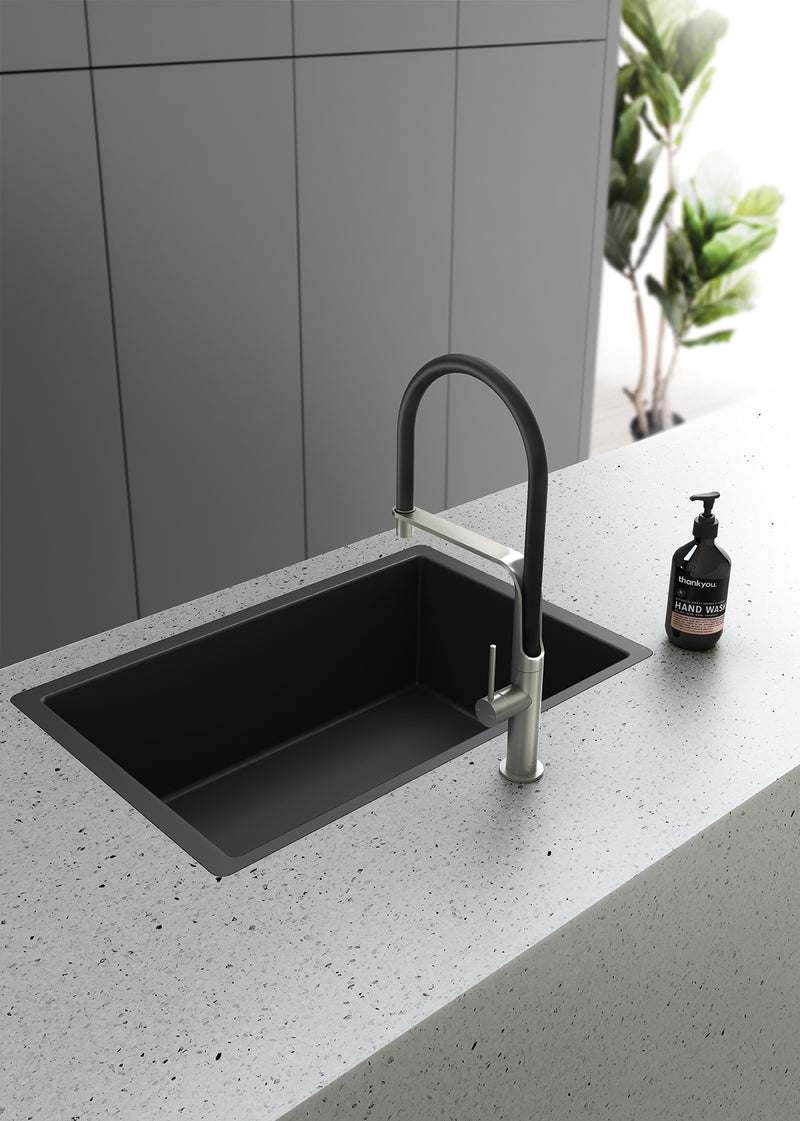 Phoenix Vido Flexible Hose Sink Mixer - Brushed Nickel