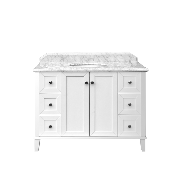 Turner Hastings Coventry 1200mm Satin White Vanity, Marble Top, Single Bowl