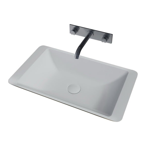 1628475 RIGA rectangular vessel basin with white solid surface finish