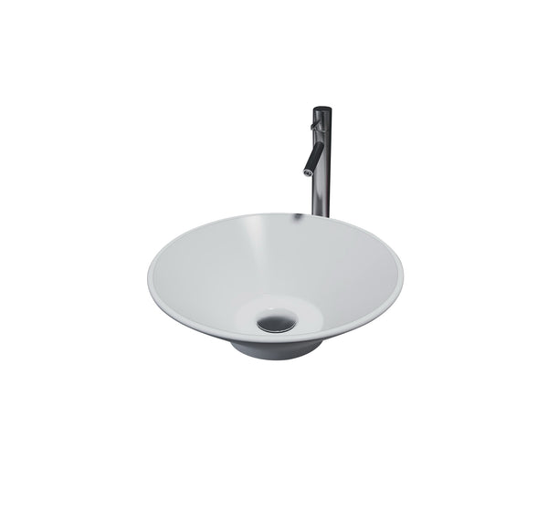 1628476 NILE Round Vessel Basin with No Tap Hole, White Solid Surface Finish