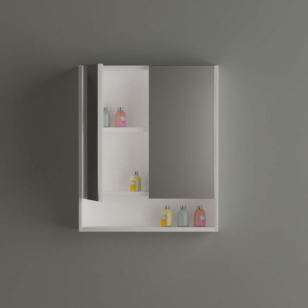 Stora 600mm Mirrored Shaving Cabinet with Undershelf - White