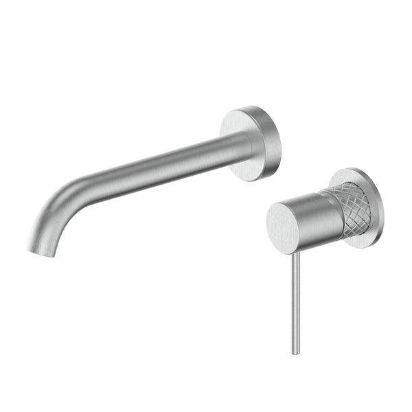 18302523 Textura Wall Basin-Bath Mixer Brushed Stainless