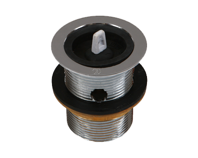 32mm Basin Plug & Waste with Overflow Chrome, Rubber Plug