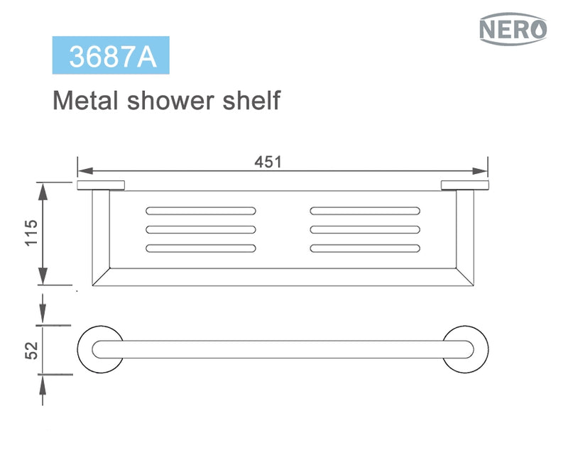 Nero Dolce Metal Shower Shelf 450mm - Matte Black
