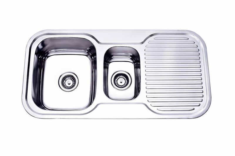Kitchen Sink with 1.25 Bowls & Single Drainer RIGHT HAND BOWL