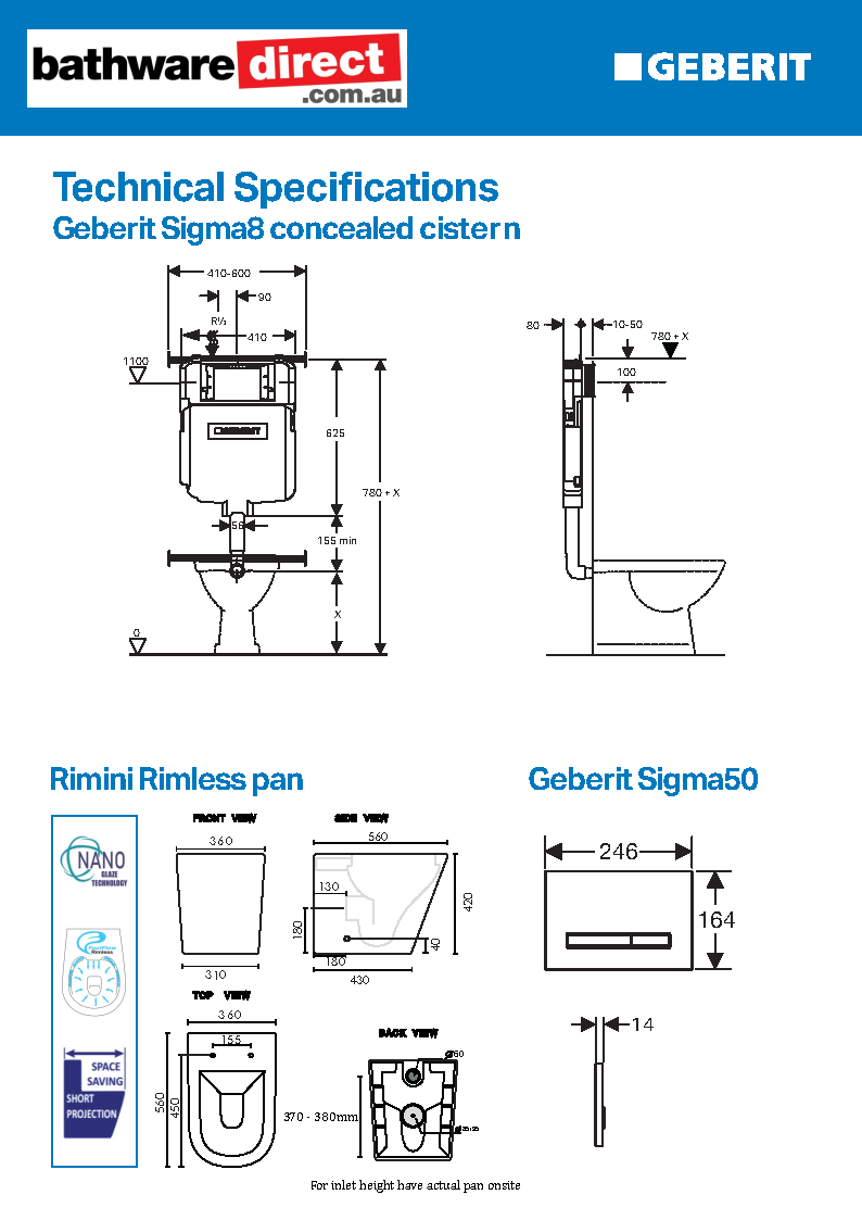 Rimini Rimless Wall Faced Pan, Geberit Sigma8 Cistern & Sigma 50 Glass Button