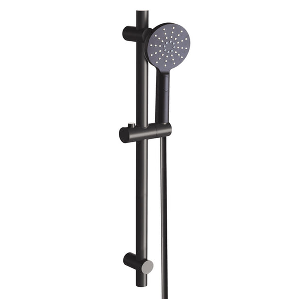 Bakara 3 Function Round Shower on Sliding Rail, Matte Black