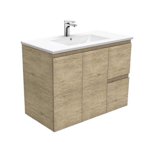 Fienza Edge Ceramic Wall Hung Vanity 900mm - Scandi Oak