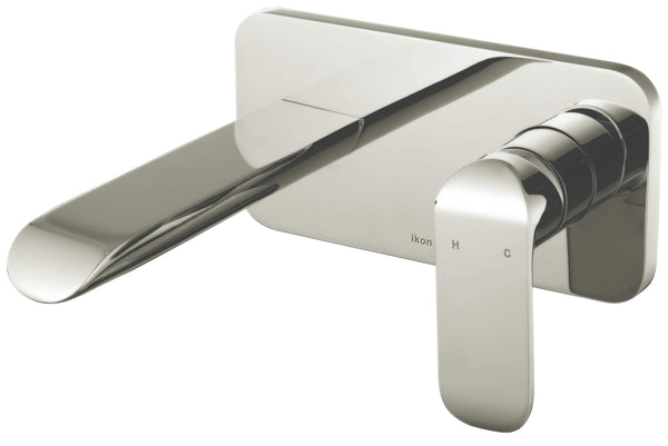 Ikon Harper Wall Basin/Bath Mixer Brushed Nickel