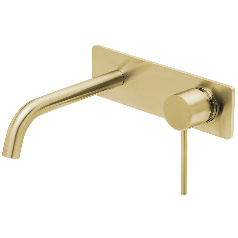 Phoenix Vivid Slimline Wall Basin Mixer Set 180mm Curved, Brushed Gold